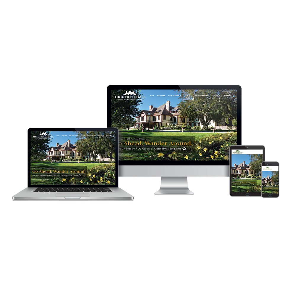 Portfolio website design Highfield Hall Falmouth, MA