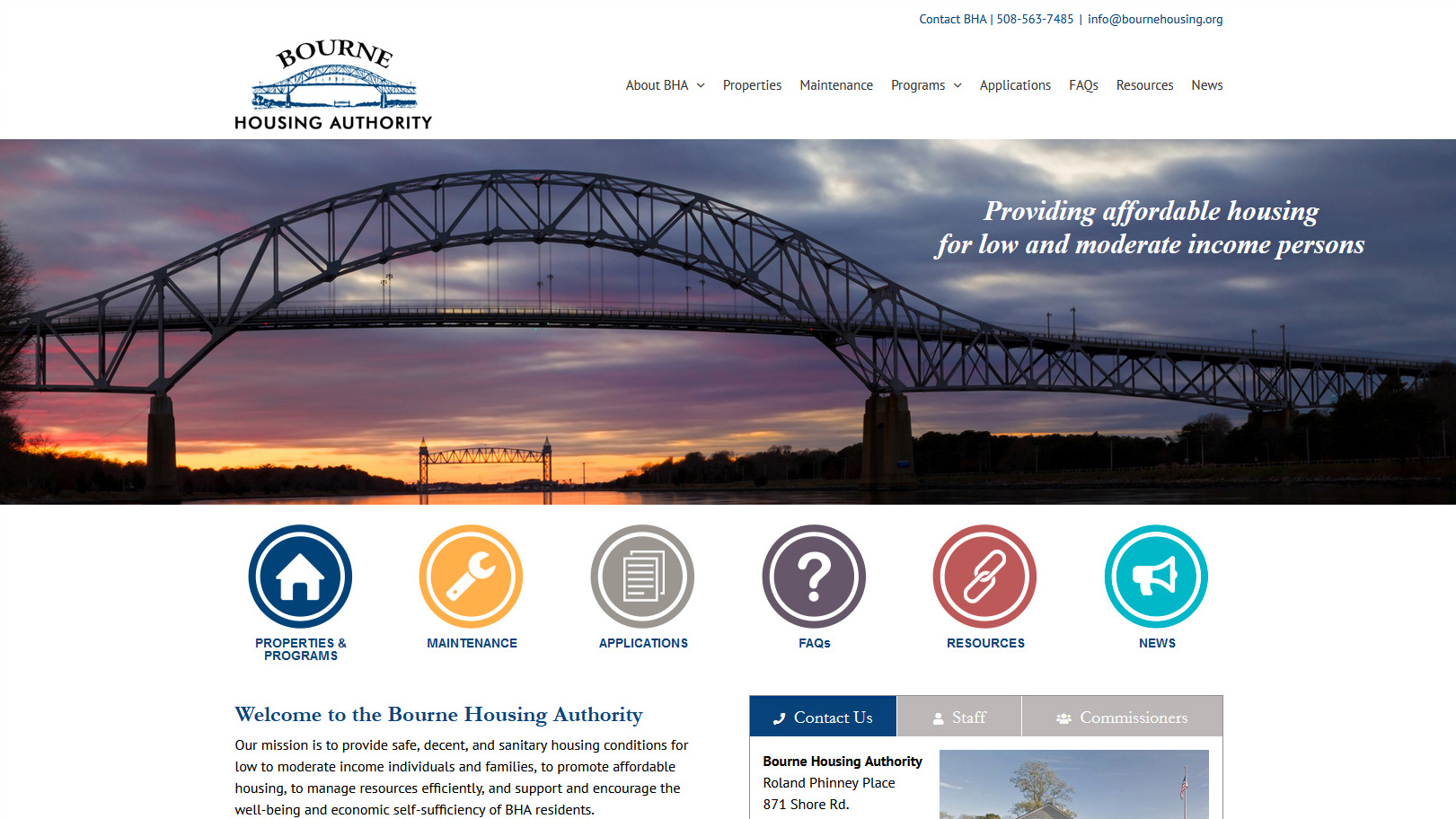 Portfolio Bourne Housing Authority website design