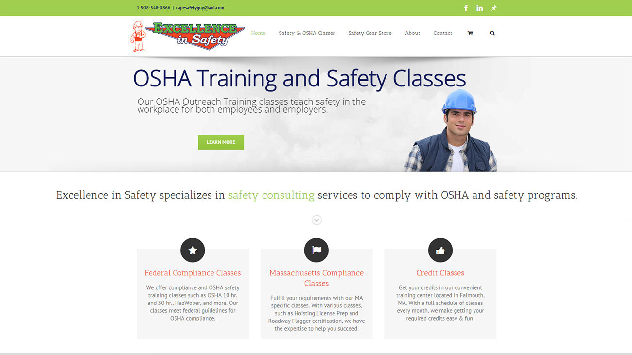 Portfolio Excellence in Safety website design