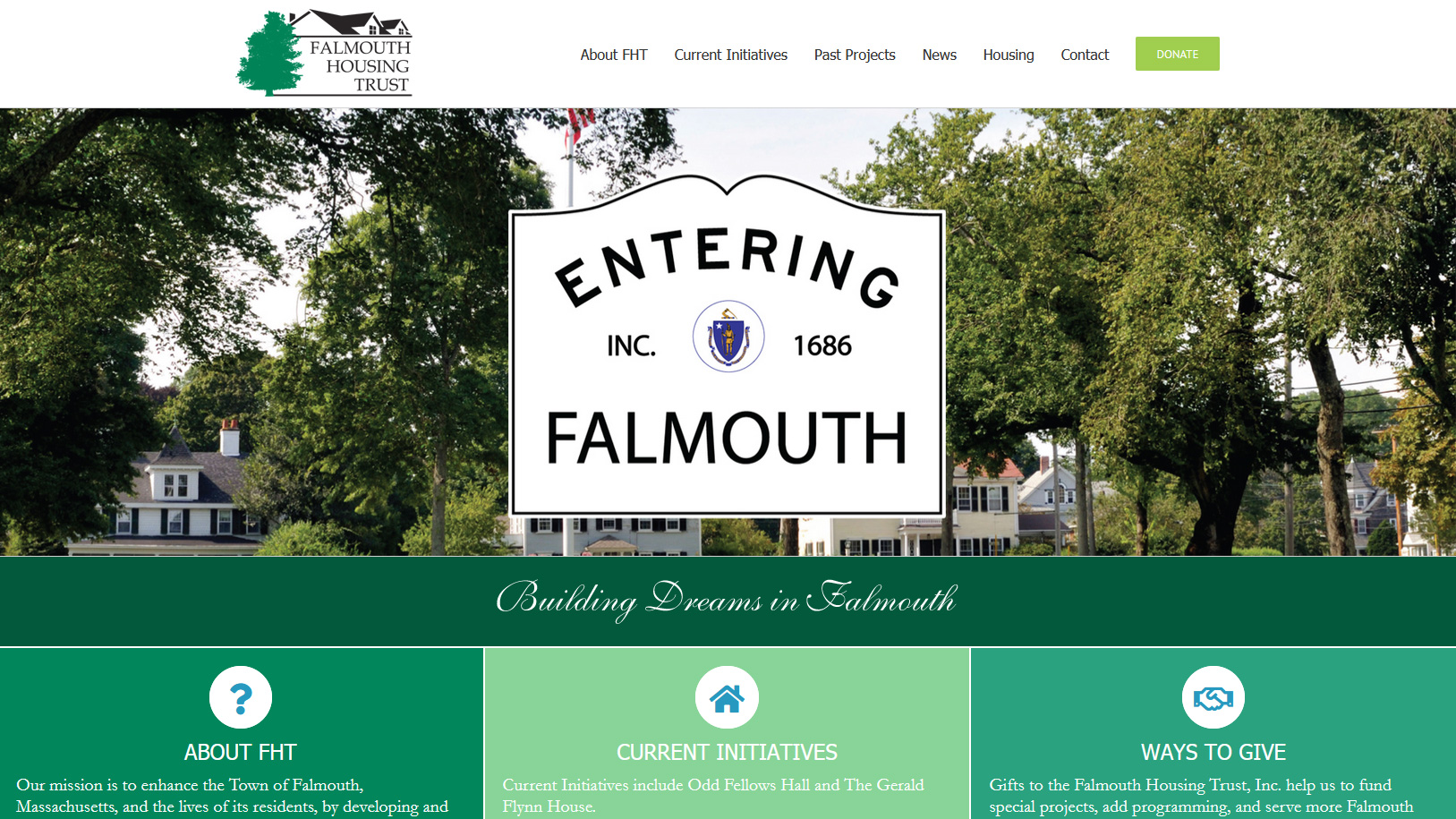 Portfolio Falmouth Housing Trust website design