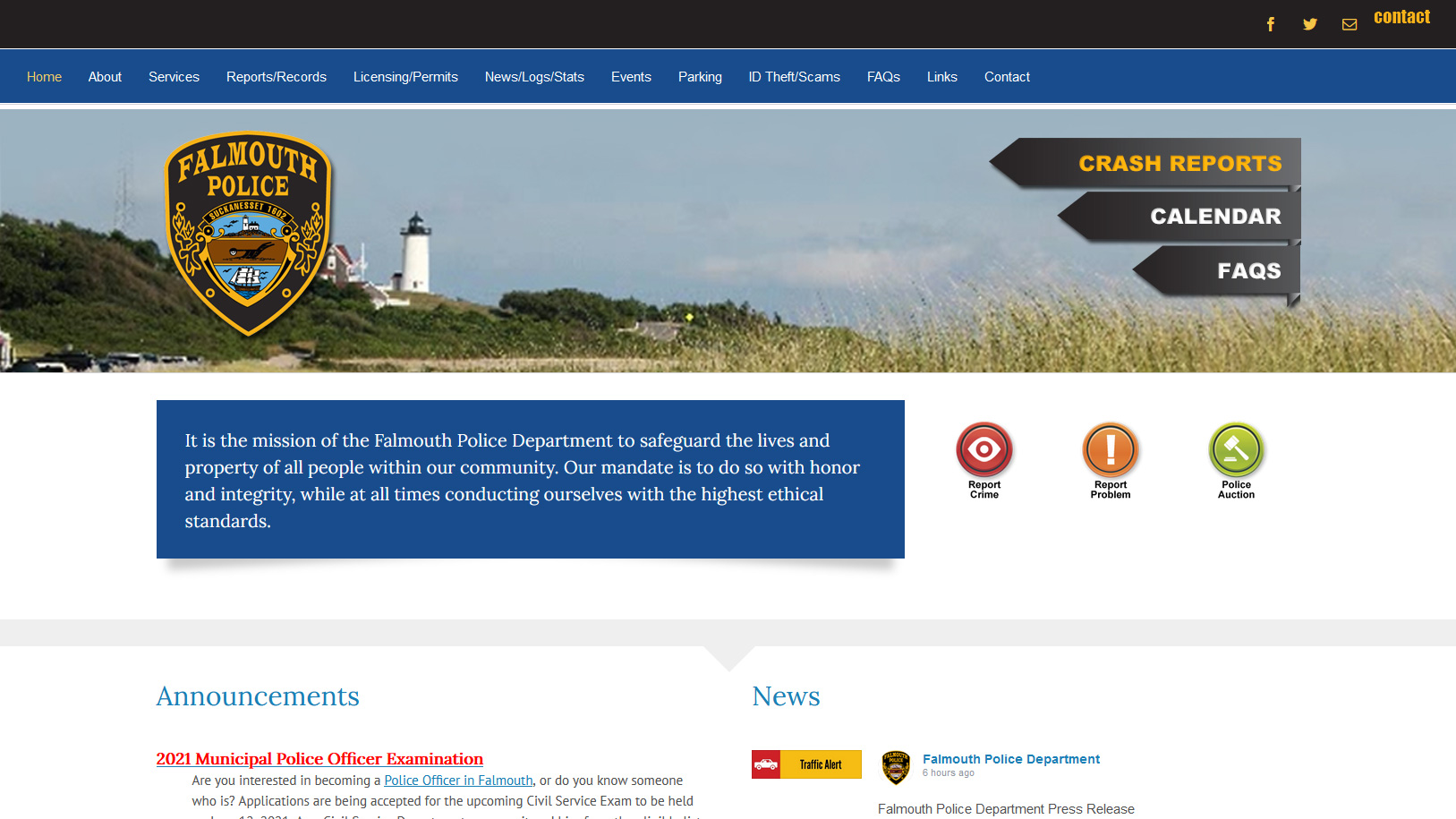 Portfolio Falmouth Police website design