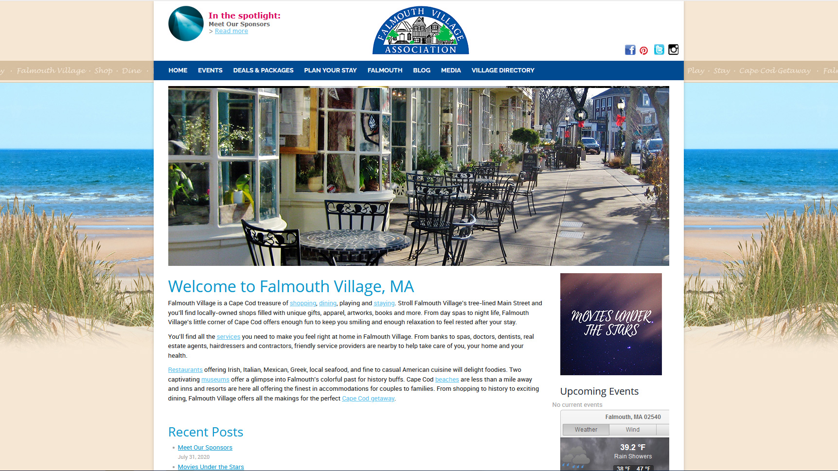 Portfolio Falmouth Village Association website design