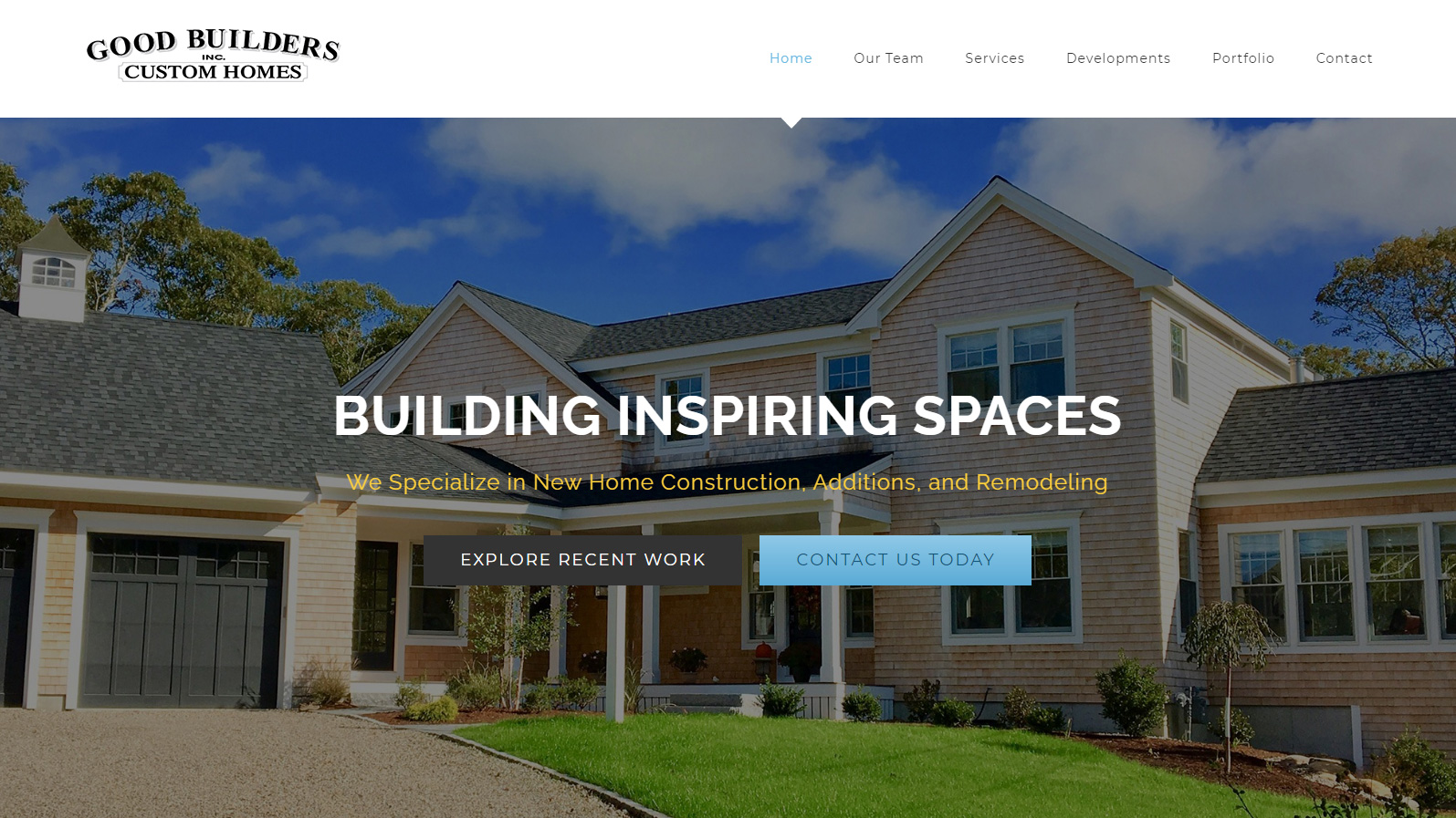 Portfolio Good Builders website design