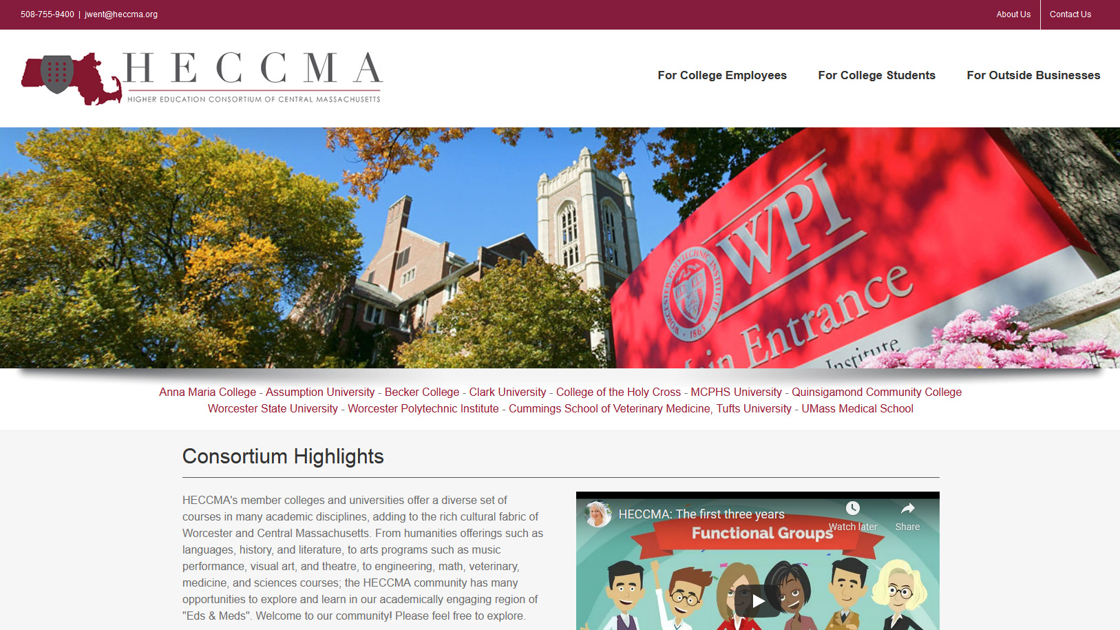 Portfolio HECCMA website design