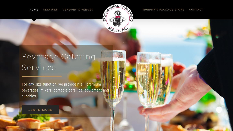 Portfolio Professional Bartending Service website design