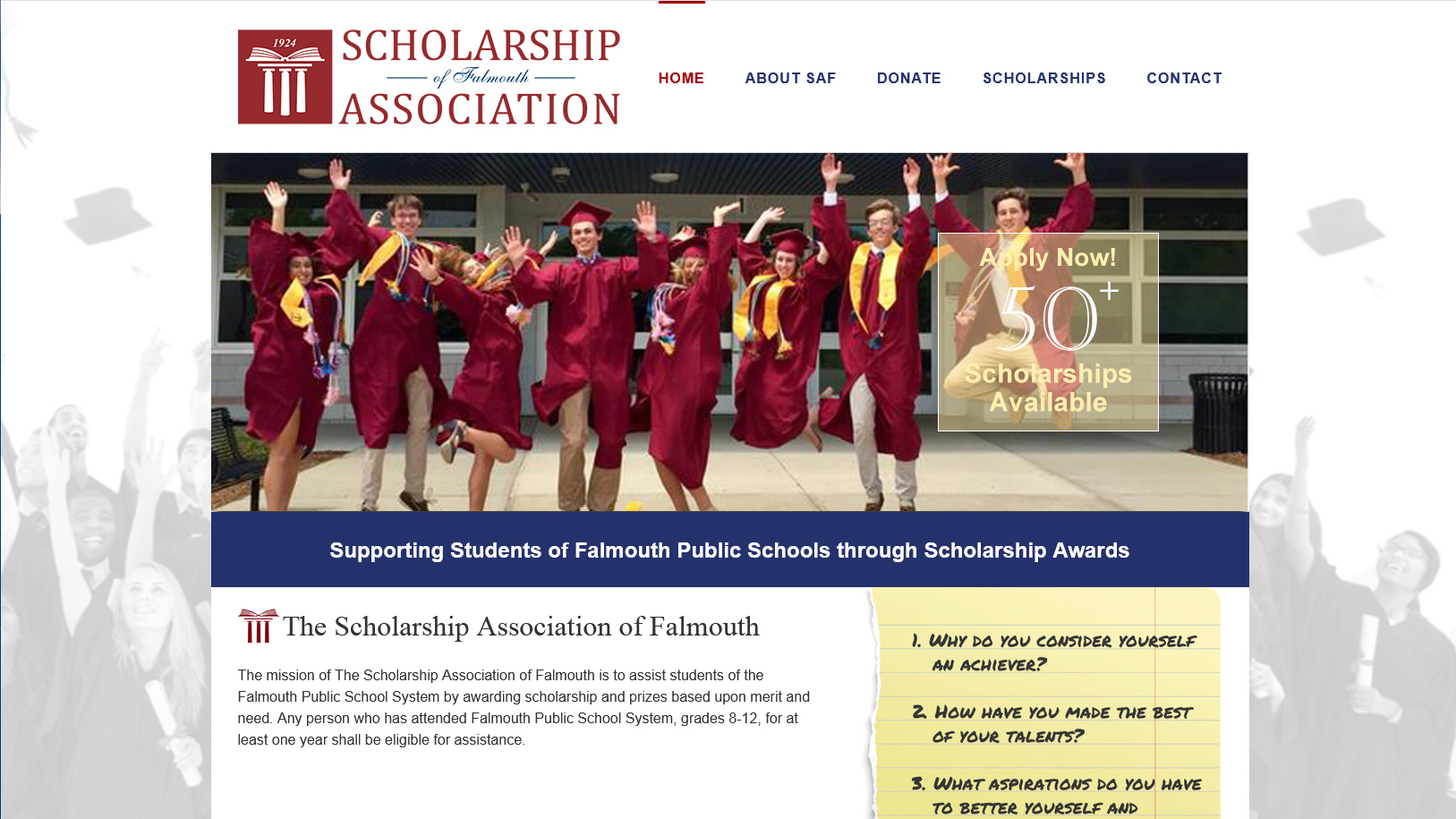 Portfolio Scholarship Association of Falmouth website design