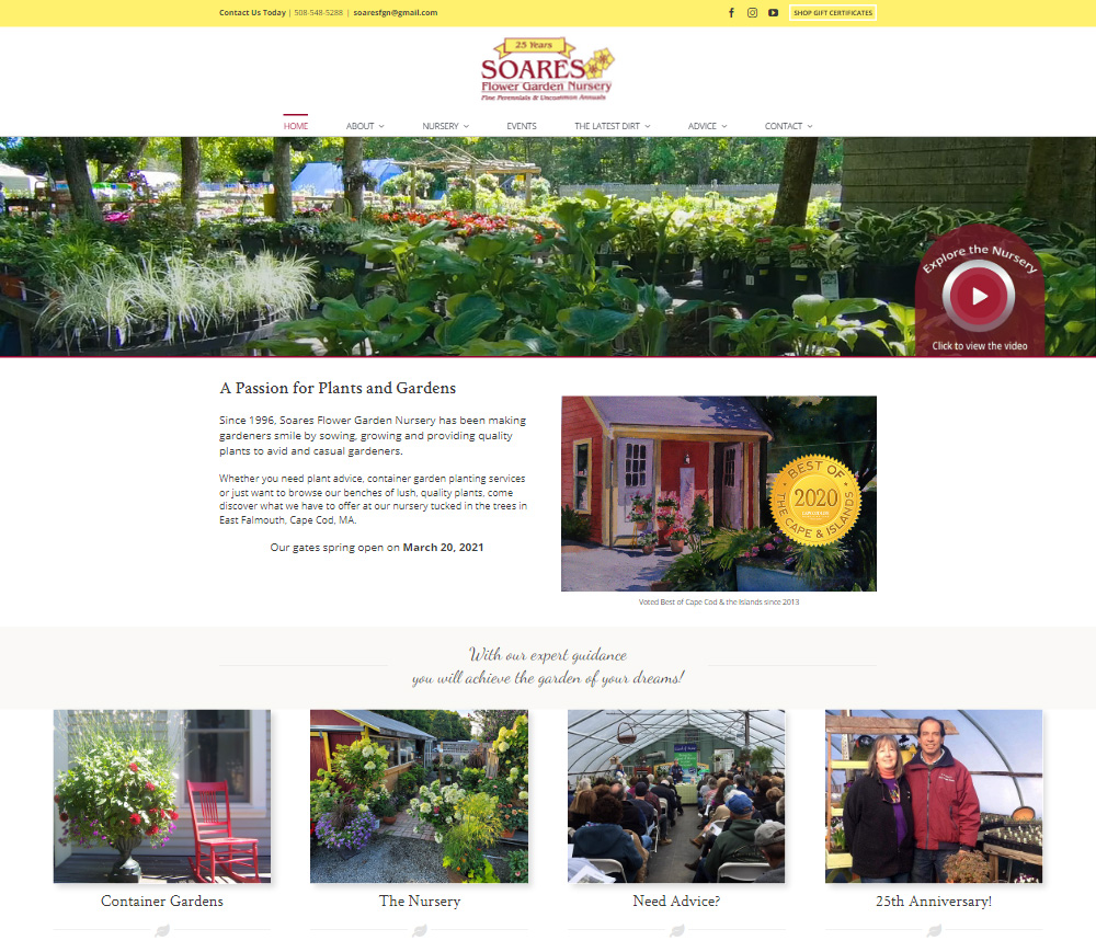 Portfolio Soares Nursery website design