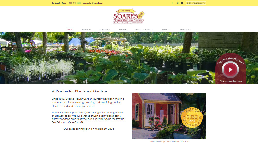 Portfolio Soares Nursery website design