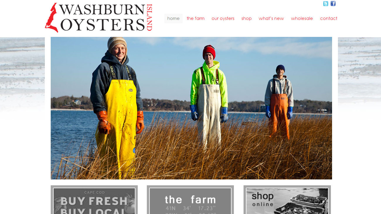 Portfolio Washburn Island Oysters website design